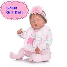 New Fashion 57CM NPK Full Body Silicone Baby Reborn Dolls Real-Looking Sleeping Newborn Girl Kids Bathe Toys Girl Gift Brinquedo