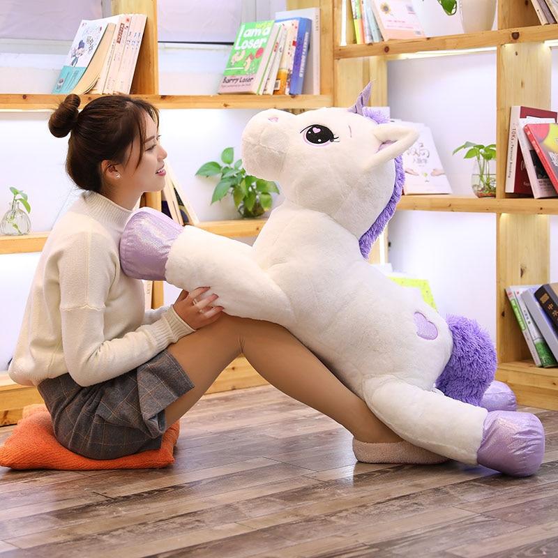 80cm Big Size Cute Pink Unicorn Stuffed Soft Pillow Kids Kawaii Unicorn Horse Plush Animal Toys Baby Xmas Gift Home Decoration