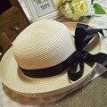 Moda Dobrável Ao Ar Livre Proteção UV das Mulheres Aba Larga Chapéu de Sol Proteção para o Rosto de Pesca Chapéu Do Verão Cap Praia praia do Panamá menina