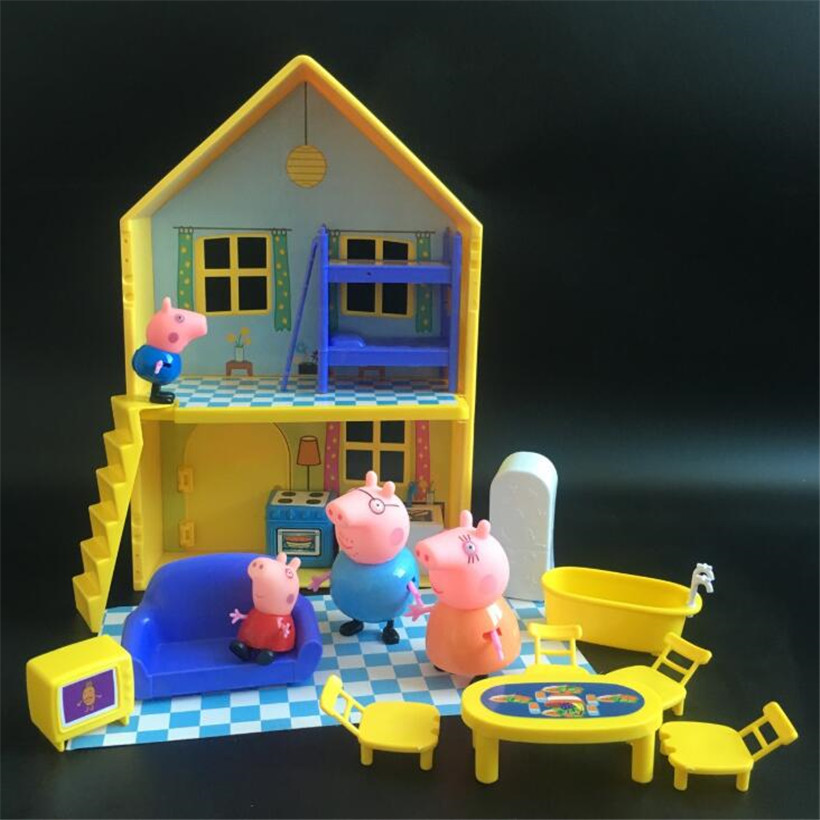 Peppa Pig George Dad Mom Family House Kids Toys Original Action Figure Model Pelucia Children Gifts