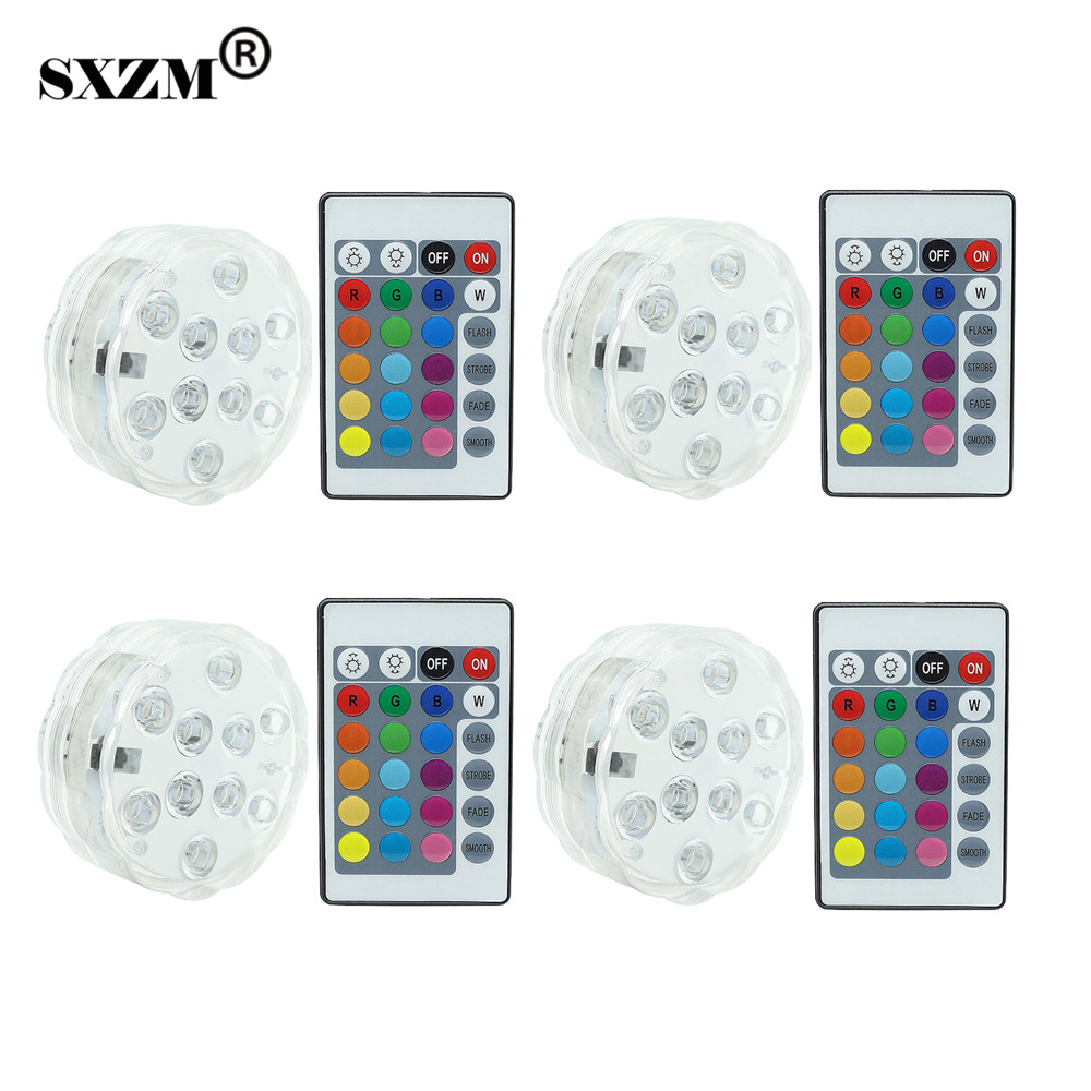 Led Underwater Lights Nice Sxzm 4pcs/lot 4w Ip68 Waterproof Led Light Battery Operated Rgb Color Aquarium 10 Leds 24 Key Ir Remote Controller Fishbowl Lamp Street Price