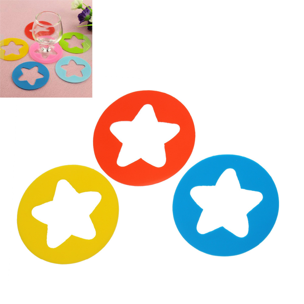 DoreenBeads Round Silicone Wine Glass Mark Table Decorations Wine Glass Charms Gifts Multicolor Star Hollow out 7cm Dia 1 Set