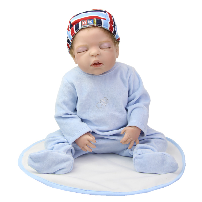 Sleeping Reborn Baby Dolls Full Body 22 Inch Full Silicone Vinyl Newborn Doll Boy Kids Birthday Xmas Gift Free Magnet Pacifier