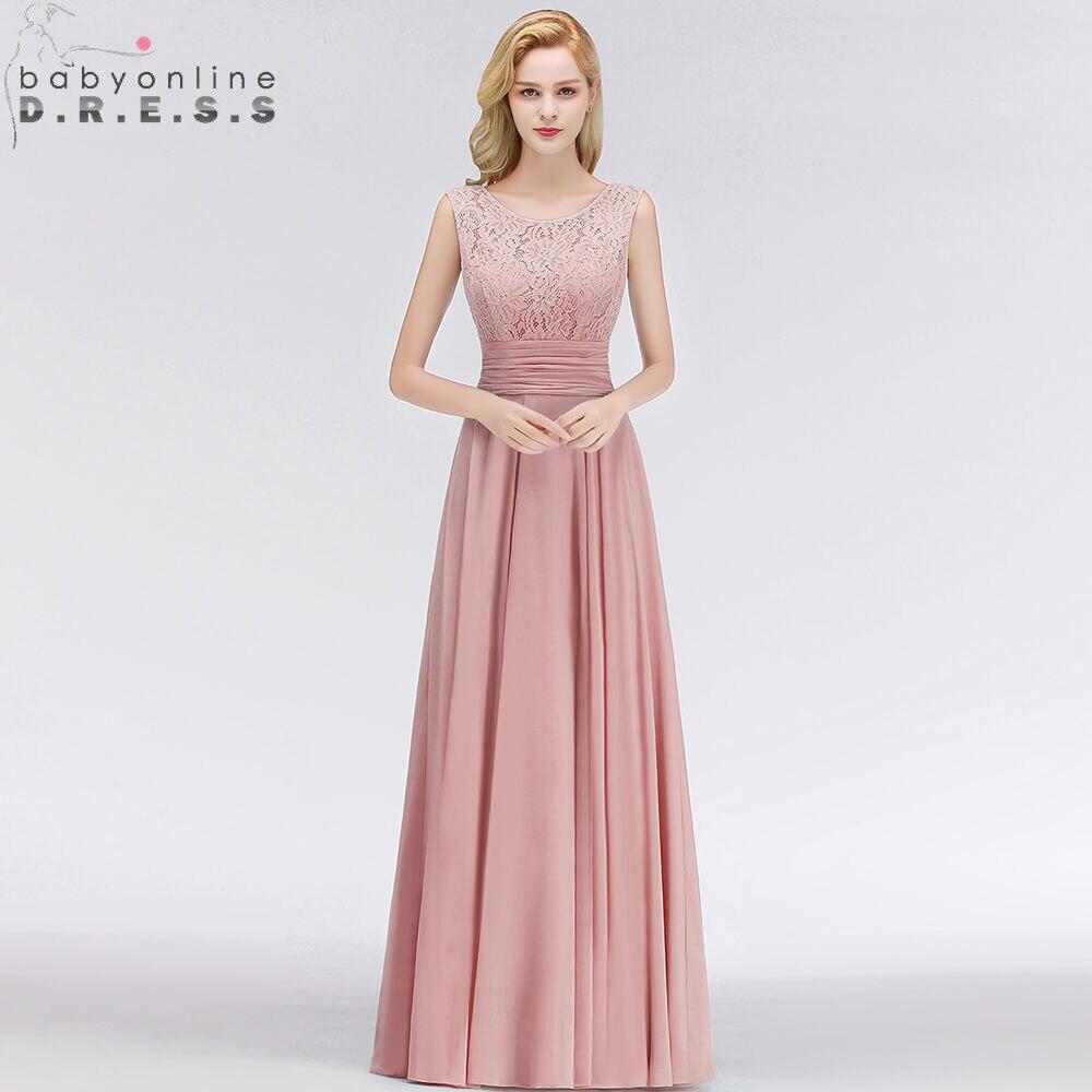 Robe De Soiree Longo Pink Lace Long Chiffon Evening Dress Sexy V Back A Line Sleeveless Evening Gown Abendkleider