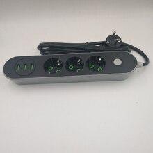 Inteligente USB Plugue 3 Tomada Tira Tomada de Energia DA UE 3 Portas USB Carregador-2 M/1.4 M Poder cabo Para A Câmera Do Telefone de Casa