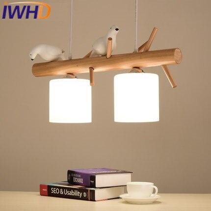 IWHD 2 Heads Glass Modern Pendant Light Led Fashion Bird HangLamp Home Lighting Fixtures Creative Wood Suspension Luminaire