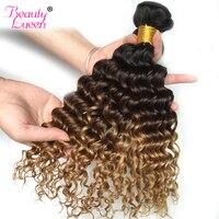Ombre Deep Wave Brazilian Hair Weave Bundles 3 Tone Human Hair Bundles 1 PC 1B 4 27 NonRemy Honey Blonde Hair Extensions