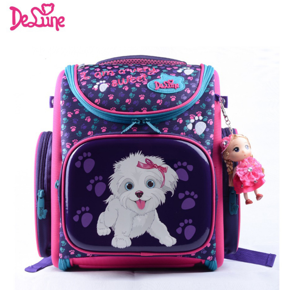 Delune Children School Bags Cartoon Bear Dog Cat Kid Bag For S Flower Backpack E Raincoat Outlet In From Luggage