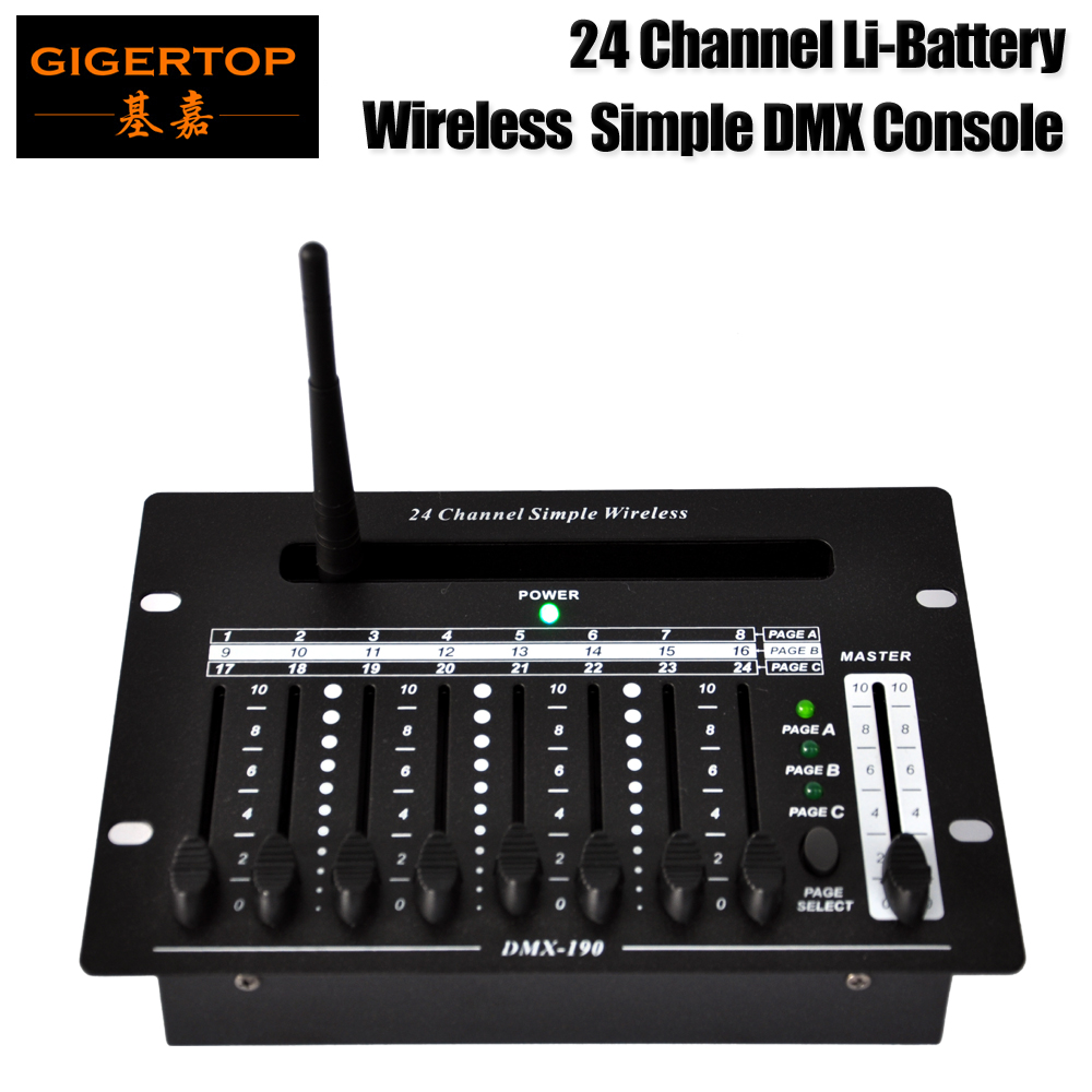 Freeshipping 24 Channel Simple Wireless Remote DMX 512 Stage Light Controller Chargeable Lithium Battery