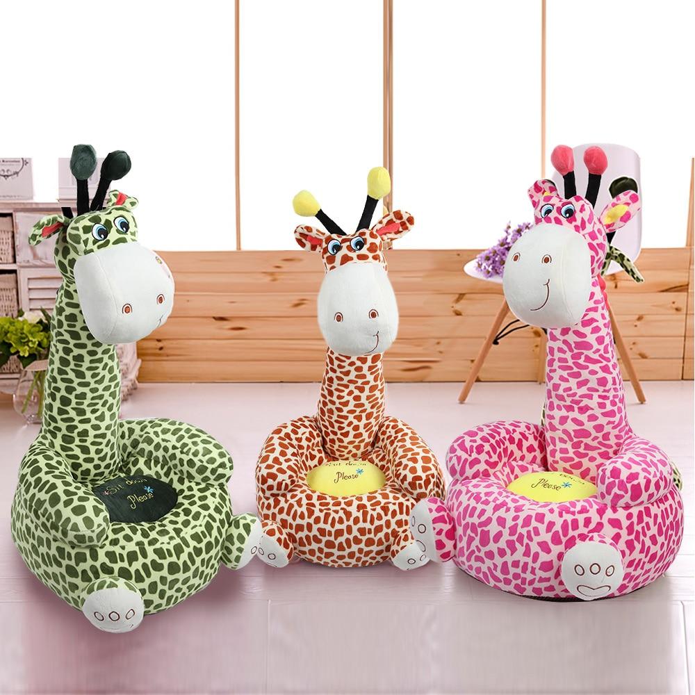 Cartoon Children Small Seat Sofa Nest Chair Giraffe Plush Toy Bean Bag Hobbyhorse Bedroom Decor Giraffe For Boys Girls 3 Colors