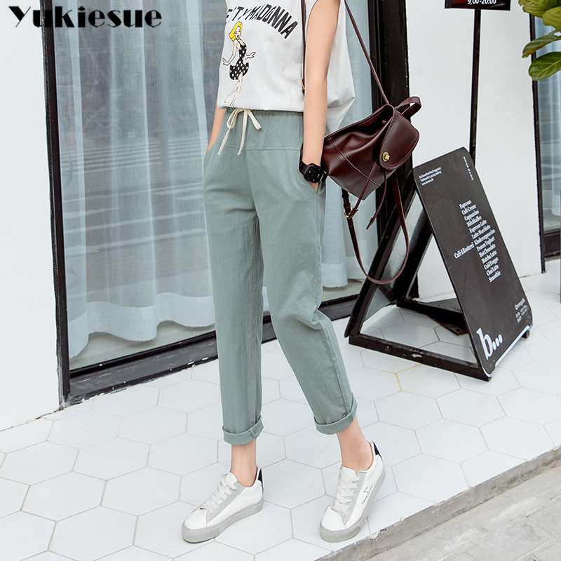 streetwear summer 2019 womens loose casual linen female high waist harem   pants     capris   for women trousers woman Plus size 5xl