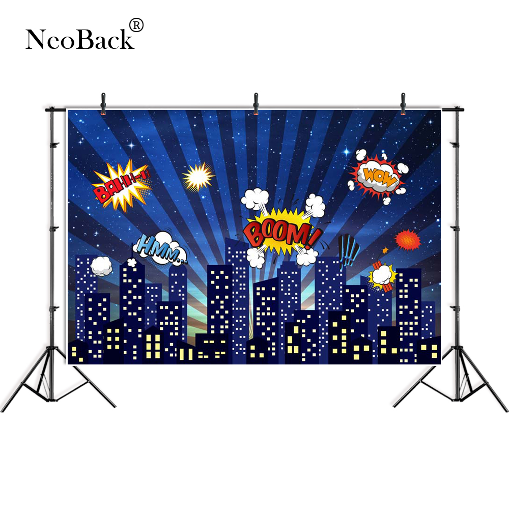 NeoBack photography backdrop City night super hero bat stars birthday party backdrop for children photocall background B4021