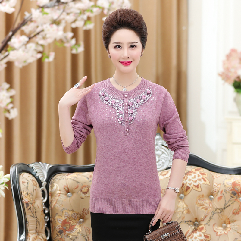 New 2019 Women Sweaters And Pullovers Round Neck Long-Sleeved Knitwear For Mother Diamond Round Collar Knitted Tops
