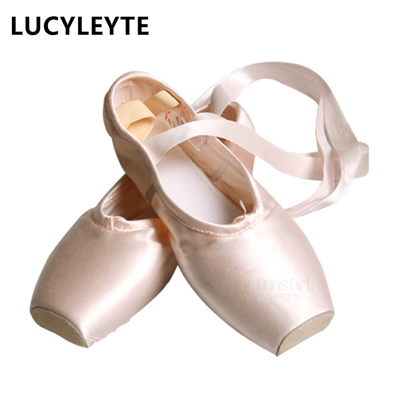 LUCYLEYTE Child and ballet Adult pointe dance shoes professional Pink satin ballet pointe dance shoes with ribbons shoes woman