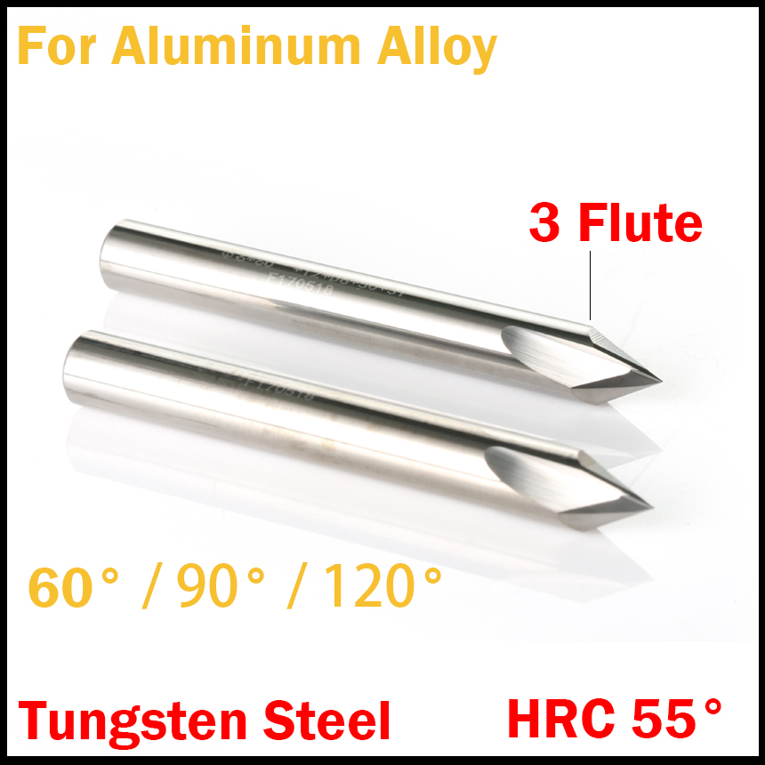 3mm 4mm 5mm 6mm 60 90 120 Degree HRC55 Straight 3 Flute Router Bit CNC Chamfer End Mill Chamfering Milling Cutter For AL Alloy