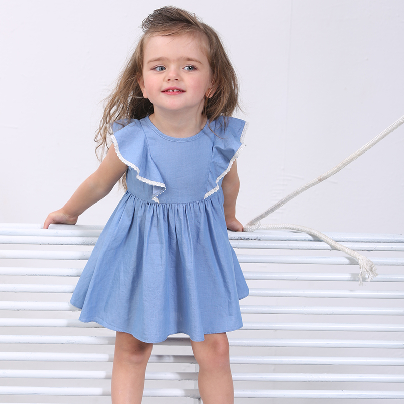 Sciaccamini brand baby girl kids clothes 1 2 3 4 years cotton ruffles sleeve summer cute princess blue dress wholesale link