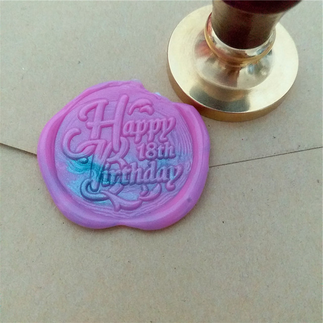 1x Wax Seal Stamp Retro Wood Classic Decorative Greetings Happy 18th Birthday Invitation Antique Sealing Custom Other Age