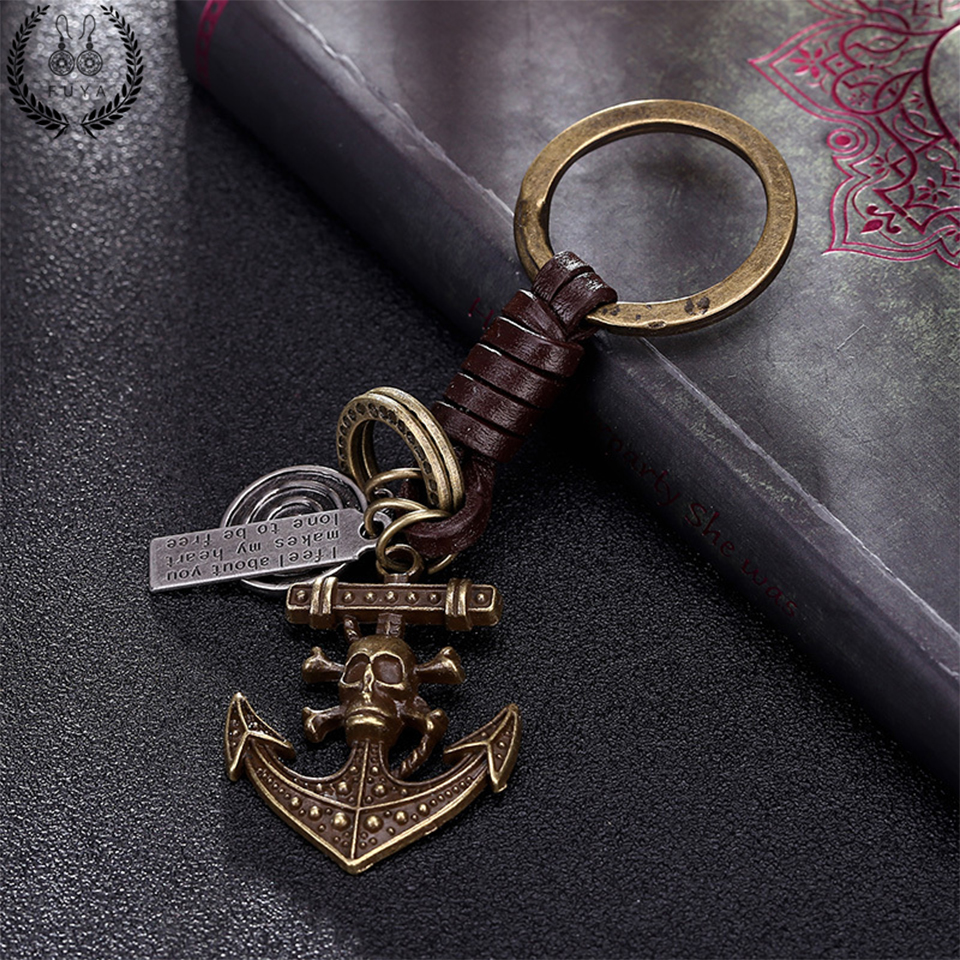 Hot Sale Vintage Bronze Rudder Charms Keychain 2018 New Punk Pirate Skeleton Bag Decoration For Car Key Ring Jewelry Accessories