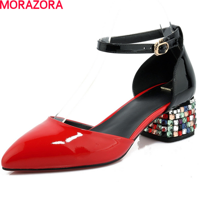 MORAZORA popular High heels shoes woman fashion rhinestone wedding party shoes in spring women pointed toe pumps single shoes morazora fashion 2017 women pumps thick heels platform spring single shoes woman high heels round toe party wedding shoes