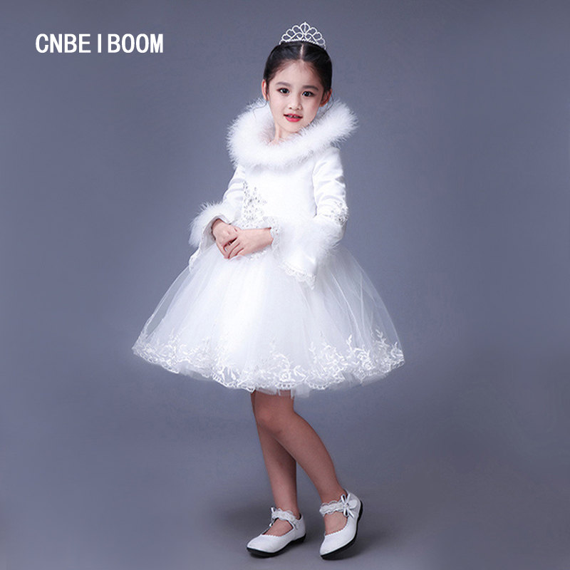 ФОТО New Arrival 2017 Brand Kids Winter Girls Wedding Lace Dress With Fur Collar Brand Fashion Girl 2-10T Christmas Costume Clothes