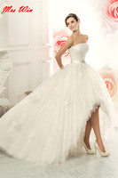 Vintage High Low Wedding Dresses vestido de noiva 2019 praia hochzeitskleid Bride Dresses Lace Short White Wedding dress