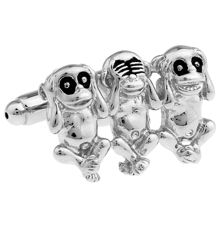 Factory Price Retail Lovely Animal Cufflinks For Men Fashion Copper Material Three Monkey Design Cuff Links Free Shipping