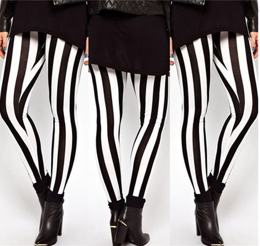 New Hot Plus Size Women Casual Black White Striped Wide Elastic Stripes Stretch Leggings Long Trousers HOT 1