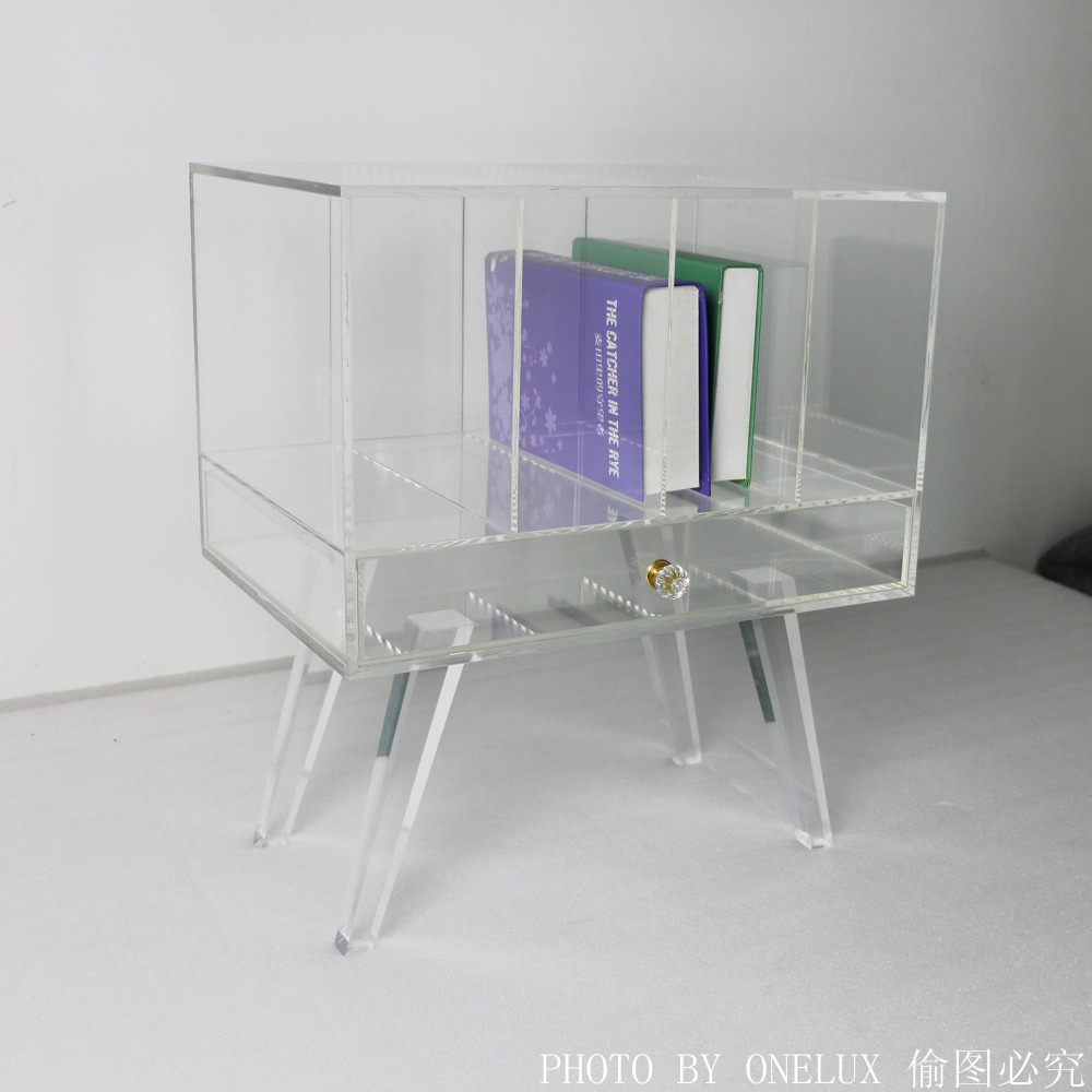 High Transparency Nightstand,Clear Acrylic book case,Lucite bedside drawer table - 51W36D60H CM цена