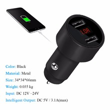Dual USB Car Charger Adapter LED Display Fast Charging for iPhone Samsung LG