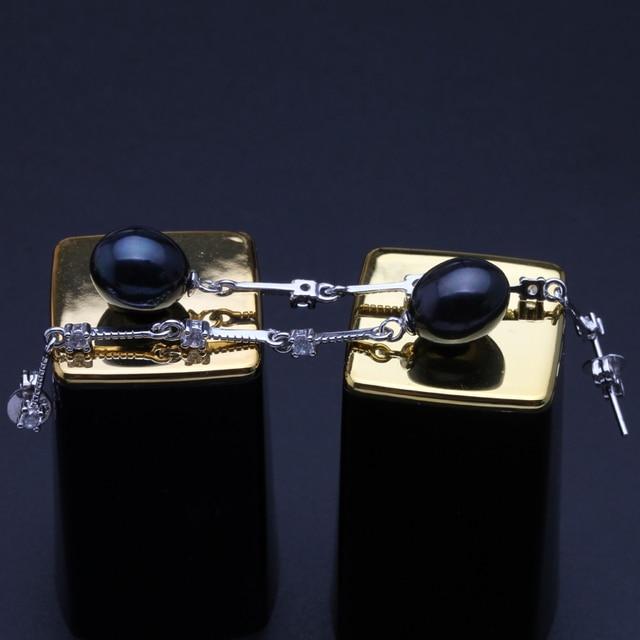 Genuino d'acqua dolce naturale lunga collana di perle orecchini donne, classico nero nero da sposa orecchini di perle in argento 925