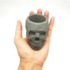Image 4 - 3D skull เรขาคณิตดอกไม้หม้อแม่พิมพ์คอนกรีตแม่พิมพ์ซิลิโคน diy ผู้ถือปากกาซีเมนต์ปูนปลาสเตอร์แม่พิมพ์ตกแต่งเครื่องมือ