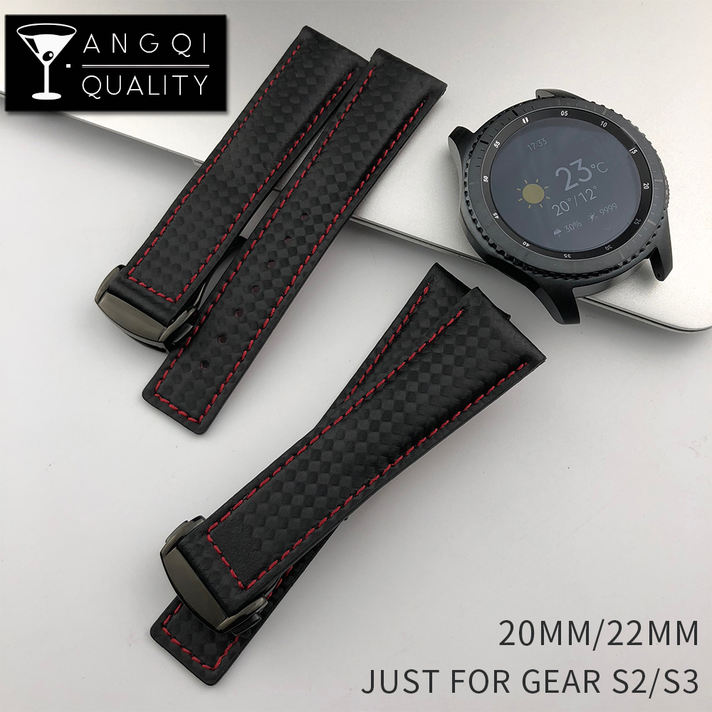 big sale 0e540 18516 US $12.87 8% OFF|22MM Sport Carbon Fiber Leather for Omega Samsung Gear S2  S3 Frontier Classic Waterproof Watch Band Strap Watchband Bracelet Man-in  ...