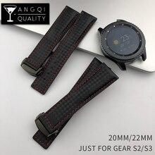 Pulseira de couro de fibra de carbono, pulseira esportiva de 22mm para samsung gear s2 s3 frontier, pulseira de relógio à prova dágua clássica homem