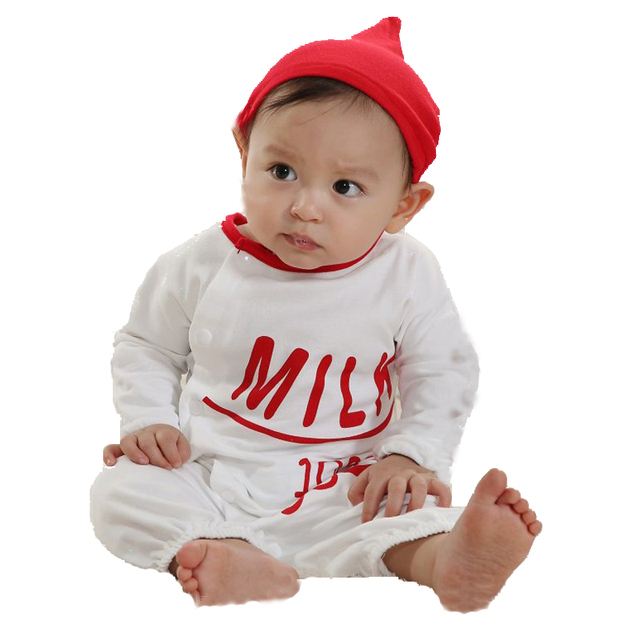 Baby Milk Bottle Romper + Hat