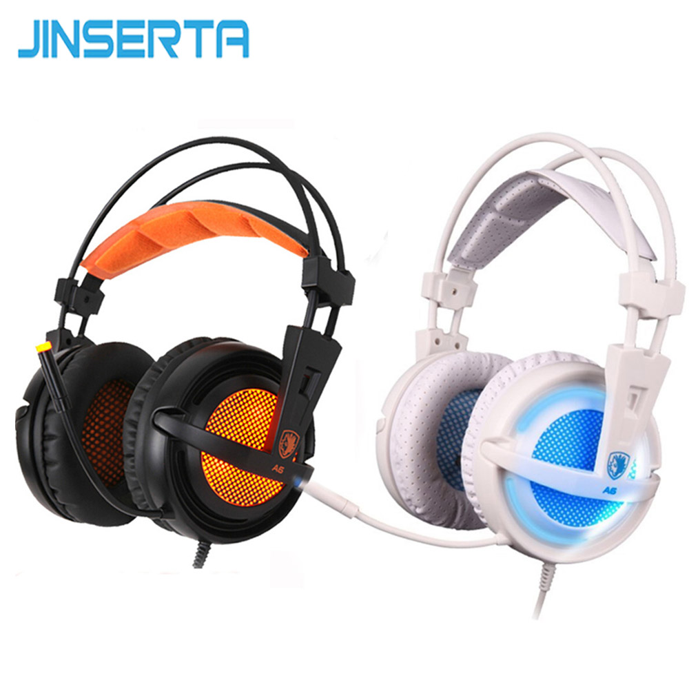 JINSERTA USB 7.1 Stereo Wired Gaming Headphones Game Headset with Mic Voice Control for Laptop Computer Gamer Noise  Isolating usb gaming headphones for computer sades a60 omg over ear stereo pc gamer game headset with microphone mic noise isolating led