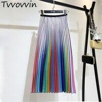 TVVOVVIN 2019 Spring New Korean Style High Waist Mid calf Color Strip Pleated Bottom Trend Women Summer Pleated Skirt AS961