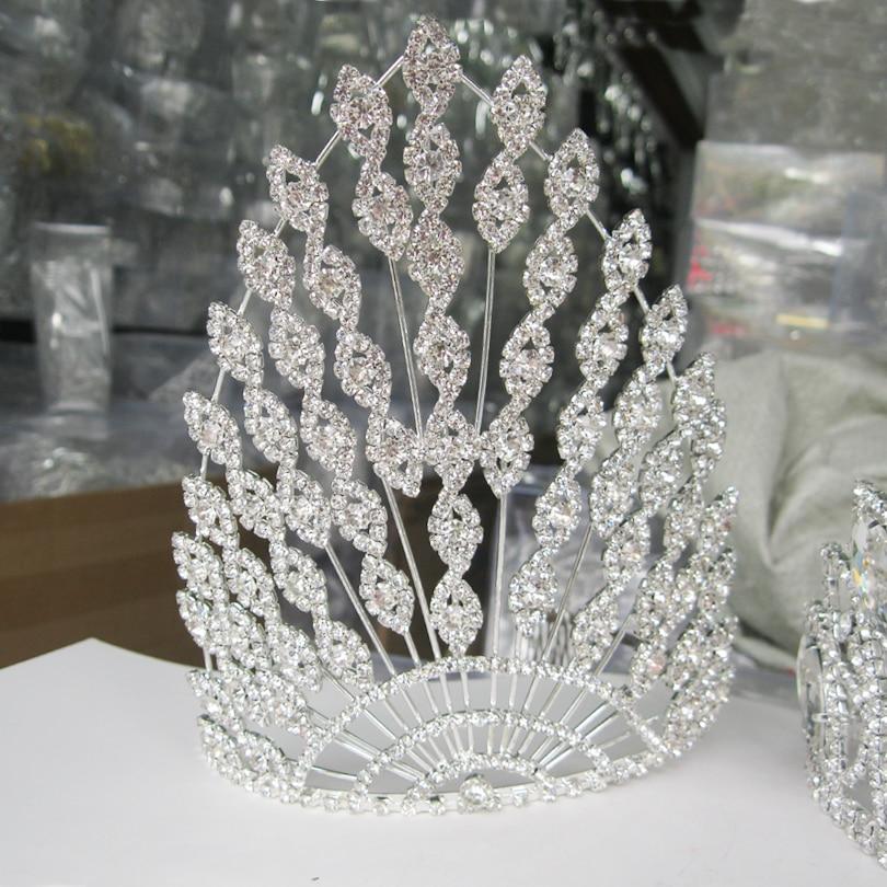 Big Wedding Tiara European Large Headpieces Luxury Bridal Hair Accessories Rhinestone Crystal Crowns Bridal Headband-in Hair Jewelry from Jewelry & Accessories    1
