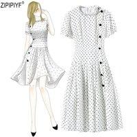 High Quality 2018 Summer Fashion Women A Line Dress Vintage Polka Dot O Neck Short Sleeves High Waist Knee Length Dress C1456