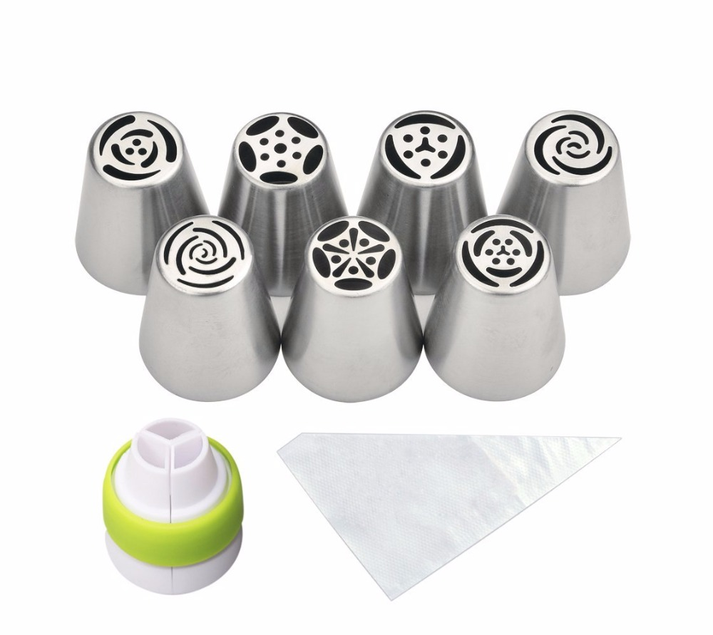 18 pc/set Russian Piping Tips  (7 10 Disposable Pastry Bags 1 Tri-Color Coupler) Cake Decorating Tools