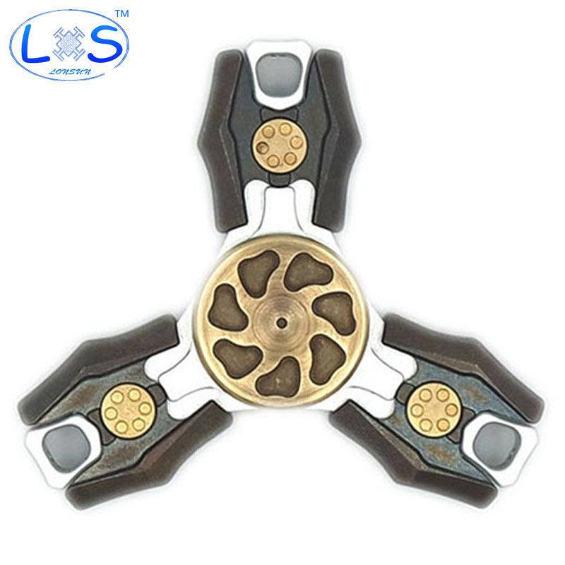 (LONSUN)Nice Feel Quality EDC Creative Hand Spinner  Sufferer Tri-Spinner Fidget Toy EDC Finger Hand Spinner Anti Stress Spinner new rainbow finger fidget spinner fun hand spinner desk focus toy anti stress spiner metal edc adhd autism tri spinner toy