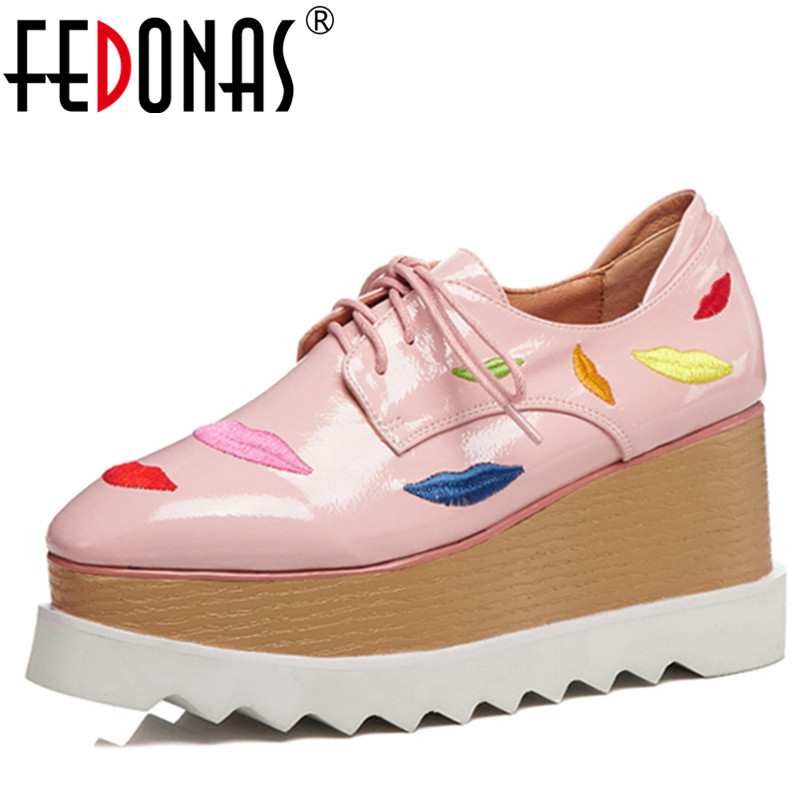 FEDONAS 2018 Women Pumps Wedges High Heels Genuine Leather Shoes Woman Brand New Lace Up Platforms Pumps Rome Casual Shoes genuine leather shoes fashion2017 new autumn women wedges shoes high heel platforms for women casual shoes pumps elevator women