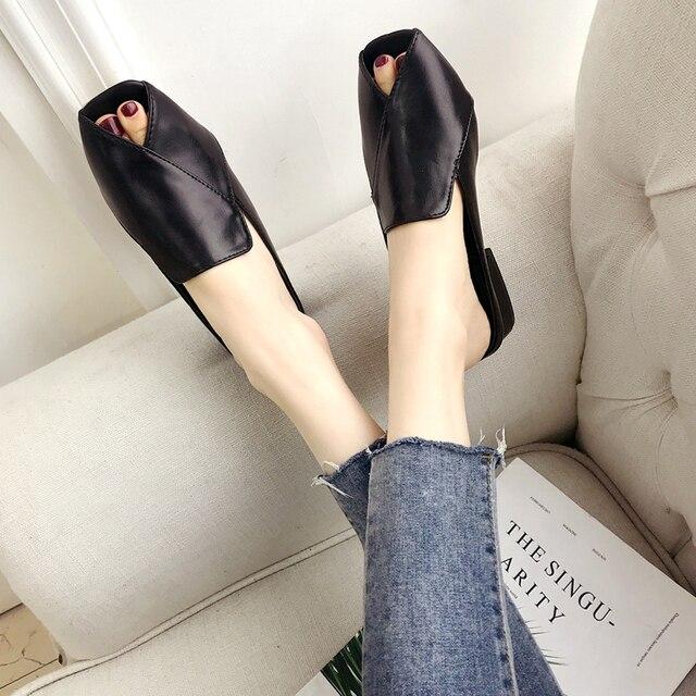 3251b0224 chic open toe mules women thick heel cutout sandals black/white leather  slippers women flip flops sandalias mujer 2018