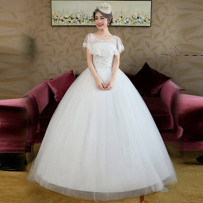 Wedding Gown 2019 Bridal Dresses Ball Gown Vintage Illusion Floral Lace Tulle O-Neck Short Sleeve Floor Length White Plus Size