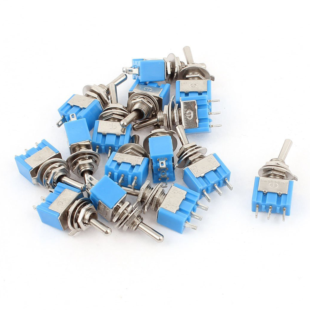 KSOL AC 125V 6A SPDT ON-ON 3 Pin Latching Micro Toggle Switch 15 Pcs 10pcs long straight hinge lever spdt micro limit switch v 153 1c25