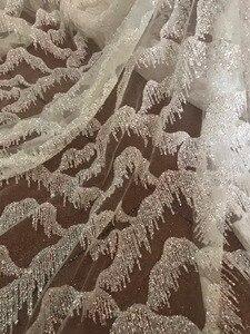 Image 3 - En Çok Satan Afrika Dantel Kumaş Nijeryalı Fransız Kumaş Yüksek Kalite JIANXI.C 101411 Yapıştırılmış glitter sequins Tül Dantel Kumaş