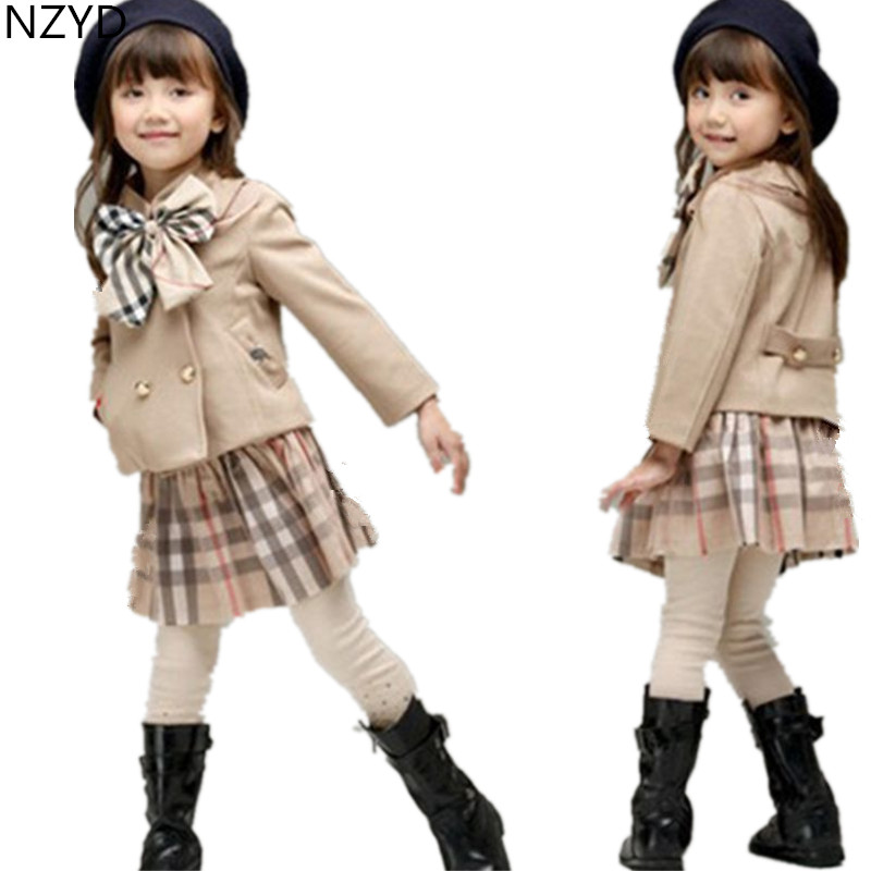 New Spring Autumn Girl Children's Clothing Suit 2017 Han edition College Style Coat + Skirt Casual Cute Kids Clothes 2PSC DC541