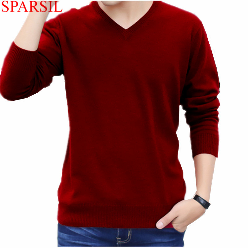 Sparsil Men's Winter Business Cashmere Blend Knitted Sweater V-Neck Pullover Autumn Warm Soft Long Sleeve Knitwear Sweaters C3
