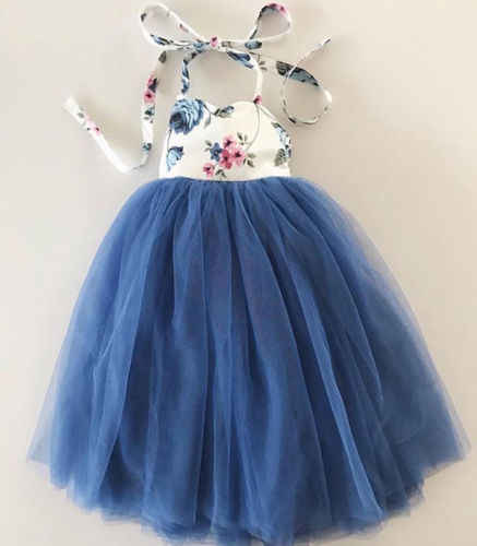 Princess baby girl dress Kids Toddler Baby Girl Sleeveless Floral Dress Lace Tulle Party Dress  1-7y