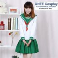 ONTE Japanese Cosplay Inuyasha Higurashi Kagome Cosplay Costume Lady School Uniform Sailor Suit Green Clothes Dropshipping
