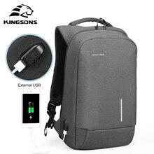 Купить с кэшбэком Kingsons 13'' 15'' External USB Charging Laptop Backpacks School Backpack Bag Men Women Travel Bags